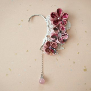 Ear hook / pink made with knob crafted crispy