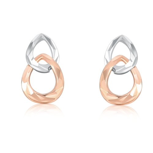 Hong Kong Design 14K / 585 Red White Gold net gold teardrop-shaped hoop earrings
