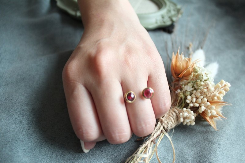 【JANUARY 1-birthstone-Garnet】silver plated with 22K rings (Adjustable )