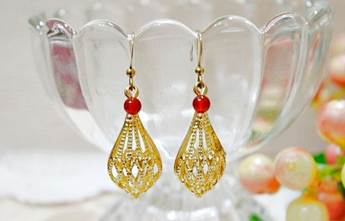 Brass natural stone * X * _ hook flower basket earrings limited X1 // //