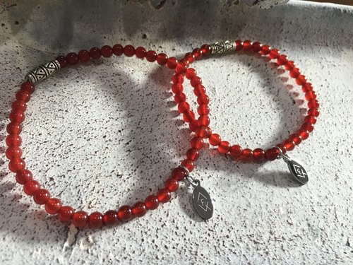 [FairyQ totem ore bracelet (red agate)] beaded natural stone - onyx, 925 sterling silver beads totem