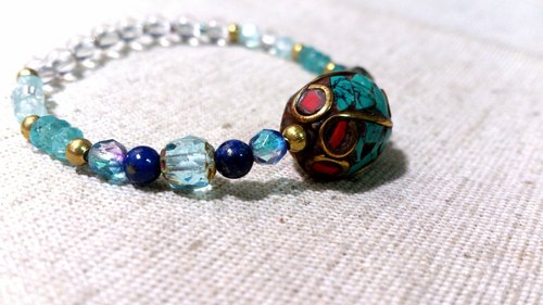 crystal in dearsharka || dotdot. Lapis lazuli blue apatite x x x white crystal turquoise x red coral copper beads