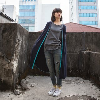 SUMI Spontaneous No side Long smock coat _4AF504_ dark blue / light blue