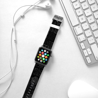 Apple Watch Series 1 , Series 2, Series 3 - Black Words Pattern Watch Strap Band for Apple Watch / Apple Watch Sport - 38 mm / 42 mm avilable