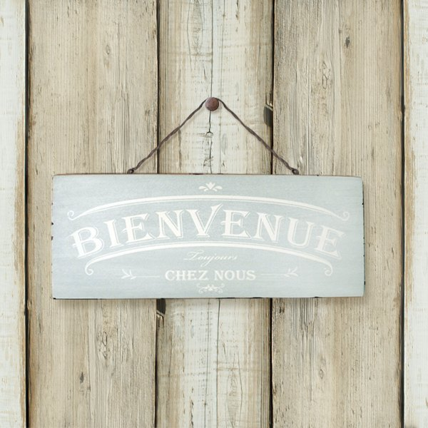 Southern France style wood retro ornaments -BIENVENUE-WELCOME- Aqua