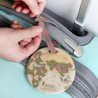Indigo- World Map Travel Tag - Retro, IDG02862