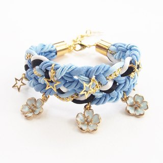 Blue flower braided bracelet