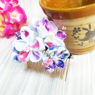 Cloth Japanese Handmade Pollen Blue Flower Balls Insert Mori Girl Retro Vintage Hair Accessories Kimono Bathrobe COS Accessories