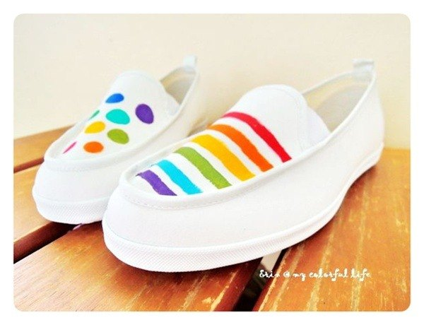 Summer walk hand-painted shoes | Lazy shoes | Canvas shoes | Dotted stripes