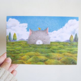Cute animal illustration card postcard (Prairie cat)