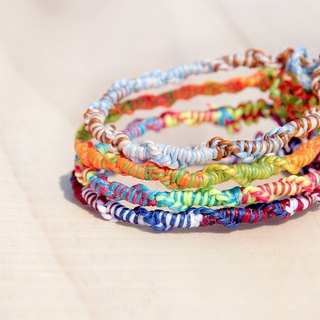 Colorful hand woven rope twist mixing / surfer rope - tri-color silk waxed thread (custom)