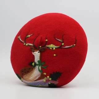 Christmas gift original handmade wool felt beret painter cap needle felting perspective deer - red