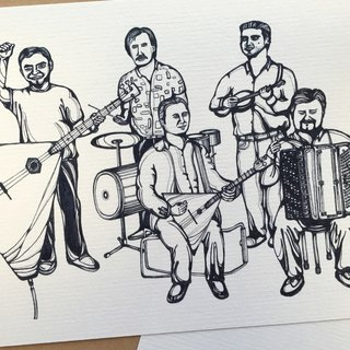 Street Band in Switzerland - artwork available in Greeting Card