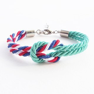 Dark mint and Tri-color rope knot bracelet