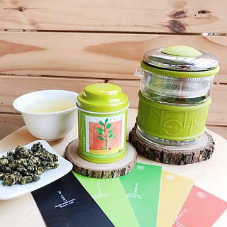 【Wu-Tsang】Colorful Ring teapot - Green(200ml) + jin-xuan green tea (18g)
