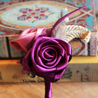 Handmade ribbon brooch [series] Rose retro purple