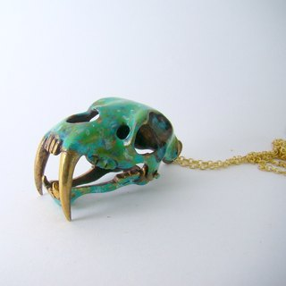 Saber tooth pendant in brass and Patina color ,Rocker jewelry ,Skull jewelry,Biker jewelry