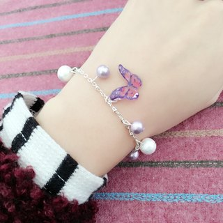 * Haku‧Neko * Flying purple pattern pink hand-painted butterfly cotton bead bracelet