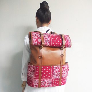 Vintage Retro PU & Cotton Rucksack Backpack / waterproof backpack with roll up top lightweight luggage.