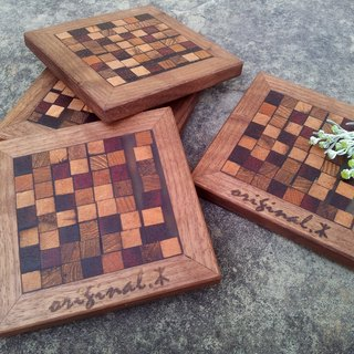 【Original. Wood】 two-color good food _ mosaic coaster (1)