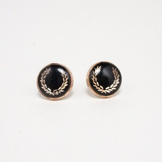 Crown Circle Stainless Steel Ear Earrings 015