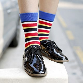 GREEN BLISS Organic Cotton Socks - [Striped Series] Azalea Blue Red Color Striped Stockings (Male / Female)