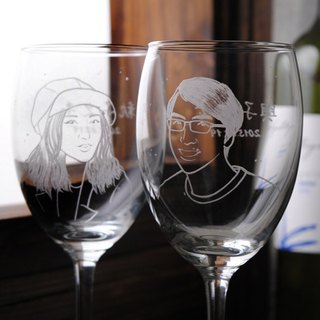 (One pair price) 270cc [MSA] hand-painted portrait of the cup (Realistic Version) England Snow Couple portrait engraving glass of red wine gift set wine glass sculpture to commemorate Valentine's Day wedding gift