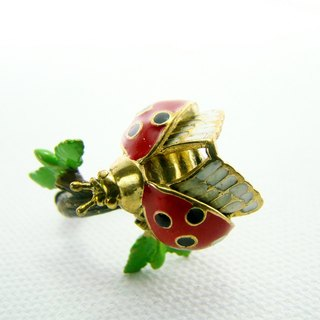 Ladybug on branch ring in brass and enamel color ,Rocker jewelry ,Skull jewelry,Biker jewelry