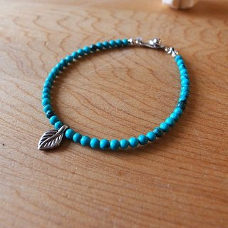 ☽ Qi Xi hand for ☽ [07150] blue green turquoise bracelet rose leaves