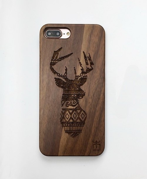 Customize wooden iPhone and Samsung case, personalized gift, Christmas elk