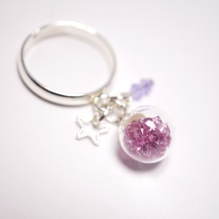 A Handmade pink and purple glass crystal ball ring strap