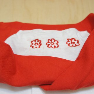 Hand-embroidered livery II / red flowers