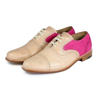 Poppy M1093B Ivory Fuxia leather oxford shoes