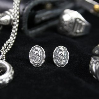 Blessed Virgin Mary Earrings (Silver) small round cards Our Lady Earrings (Silver)