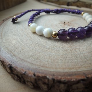 Purple / natural stone x Brazilian wax silk cord bracelet