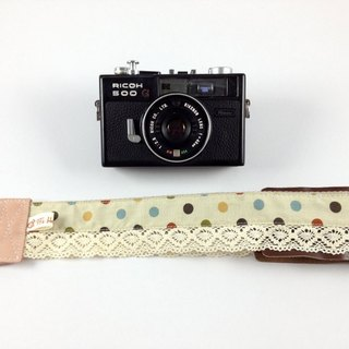 Hand-made monocular Class SLR camera strap decompression Camera back rope --- light brown bottom color dot lace paragraph