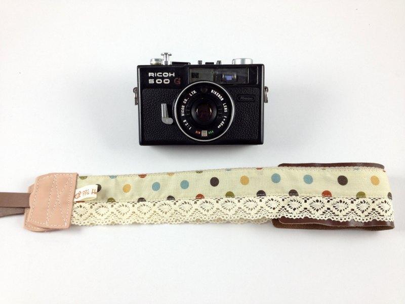 手作單眼.類單眼減壓相機背帶.相機背繩---蕾絲淺棕底彩色點款