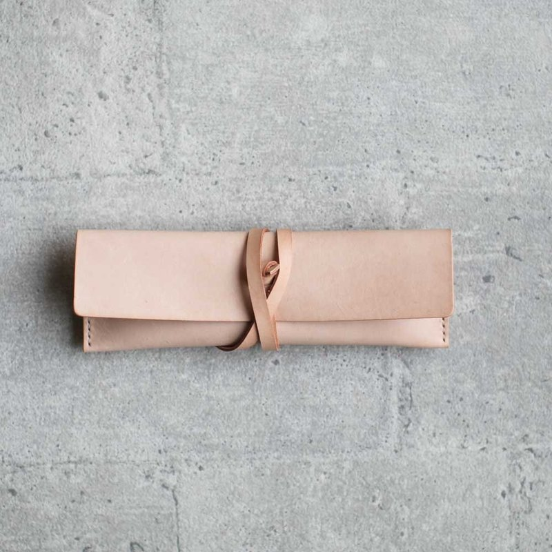 Nude Color Leather Pencil Case/Pen Pouch/ Sunglasses Case