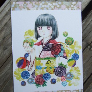 Temari Ball - watercolor postcard-260g watercolor paper