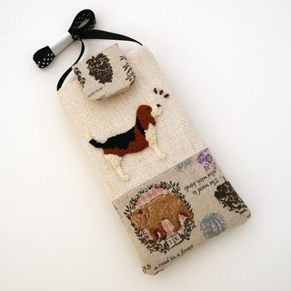 Beagle embroidered cell phone pocket (L)