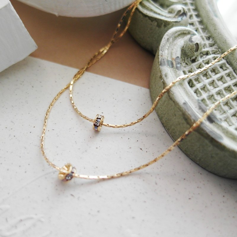 Cha mimi. The Simple Life. Simple double-stranded necklace diamond wheel