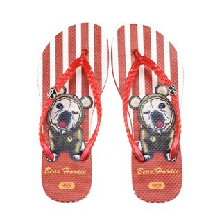 QWQ Creative Design Flip-Flops (No Drills)-Bear Hoodie-Red [STN0381501]