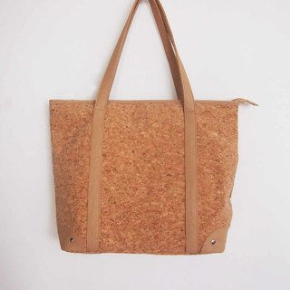 Cork Shoulder Shopping bag with Zipper, Large Tote Bag, Cork tote bag, Casual tote, Everyday bag , Shopper Bag , Diaper Bag natural unique