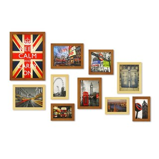 HomePlus Photoframe LightBrown 10PCS City Decor Loft