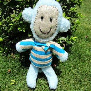 Monkey, Handmade plush animal, Ocean blue, Stripe T-shirt