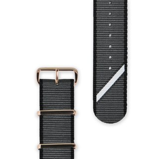 HYPERGRAND Military Strap - 20mm - Grey Twill (Rose Gold Button)