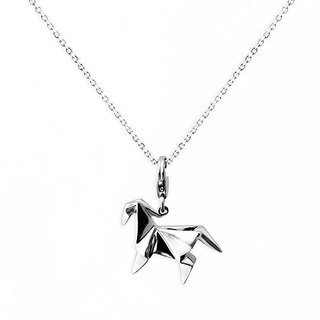 Origami vitality pony fairy Silver Necklace