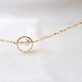 Galaxy ‧ pearl geometric ring necklace