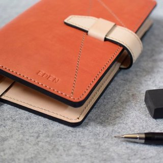 YOURS handmade leather A6 loose-leaf notebook-style jumper show bright orange stitching + photos + original leather bags