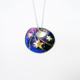 Rainy Day with Stars rain focussed enamel necklace (Star)